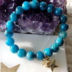 """Apatite Mala Bracelet With Star Charm 6"""""""